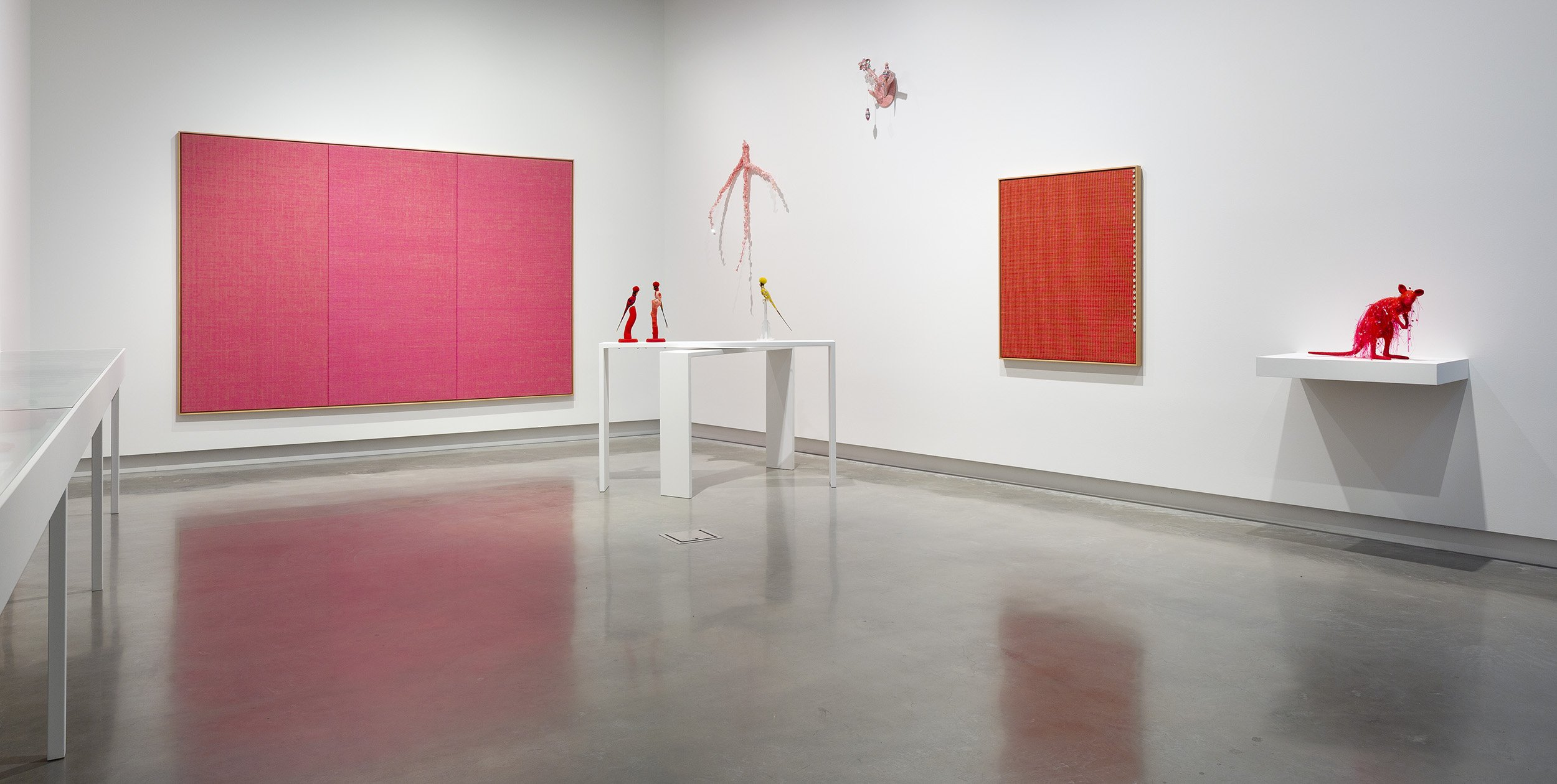 Perspective is of a corner in the gallery. Two large weavings are hung on the wall, one pink and one orange. In front, on long white plinths, sit 3 sculptures of taxidermy birds with colourful crocheted coverings.